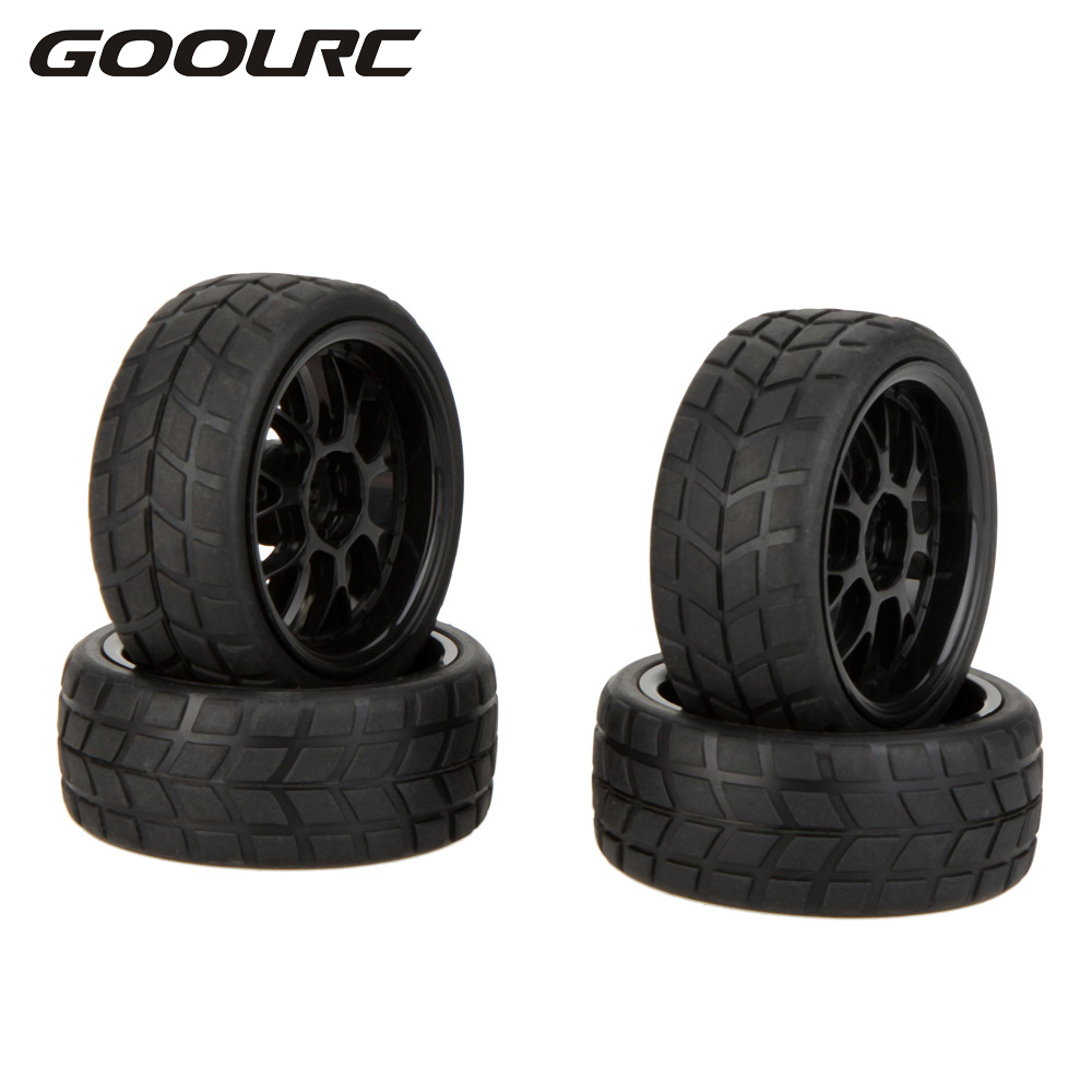GOOLRC 4 Pcs Original High Performance Rubber 1/10 Rally Car Wheel Rim and Tire for Traxxas Tamiya HPI Kyosho RC Car 4pcs aluminum alloy 52 26mm tire hub wheel rim for 1 10 rc on road run flat car hsp hpi traxxas tamiya kyosho 1 10 spare parts