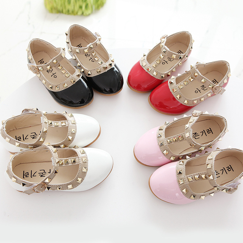 Girls Leather Shoes For Children Princess Shoes Kids Spring Autumn Fashion Rivet Dance Party Girls Shoes Black Red White Pink