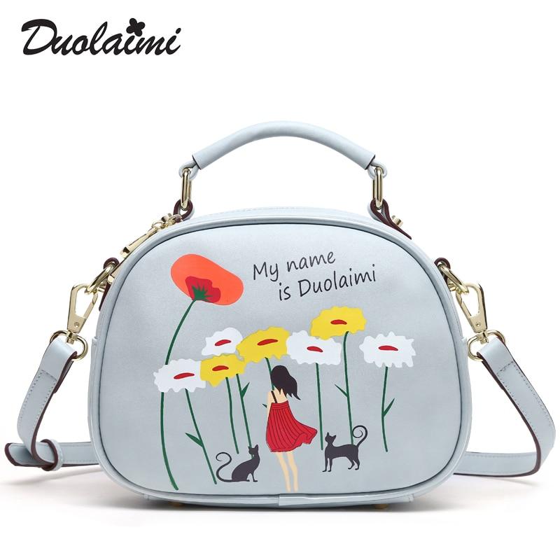 цена на Duolaimi 2018 Fashion New Bag Women Small Bag Shoulder Bag Beautiful flower Handbags Free Shipping