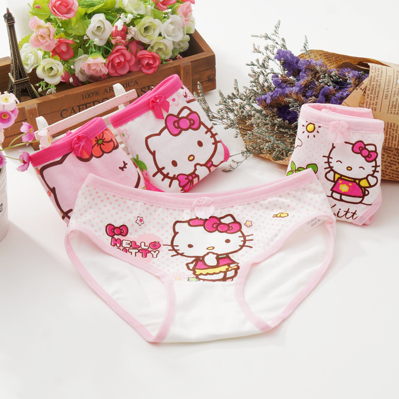 Buy 6pcs/lots  girl Triangle Underwears Panties girls Cotton Underpants hello kitty BH018 1-7Year mix colors TZ01