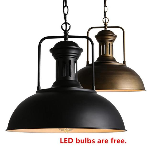e132bbcf97a Retro LED Pendant Light E27 Edison Bulb Iron Lampshade Suspension Lighting  Loft Industrial Hanging Lamps Vintage Indoor Hanglamp