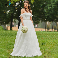 Dressv Long Wedding Dresses Off The Shoulder A Line Simple Lace Short Sleeves Elegant Church Garden