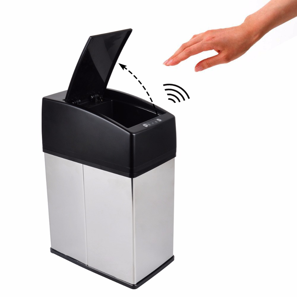 DEWEL 3L/6L Mini Stainless Steel garbage touchless automatic car dustbin small kitchen sensor trash can Table waste bin ...