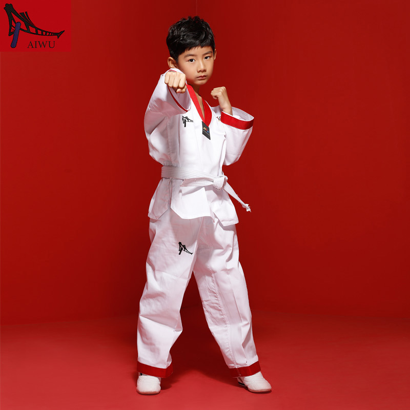 Hot Sale WTF Tae Kwon Do Dobok Clothes Child ITF Taekwondo Uniform  Size XXXS-M Embroidery Clothing White Color