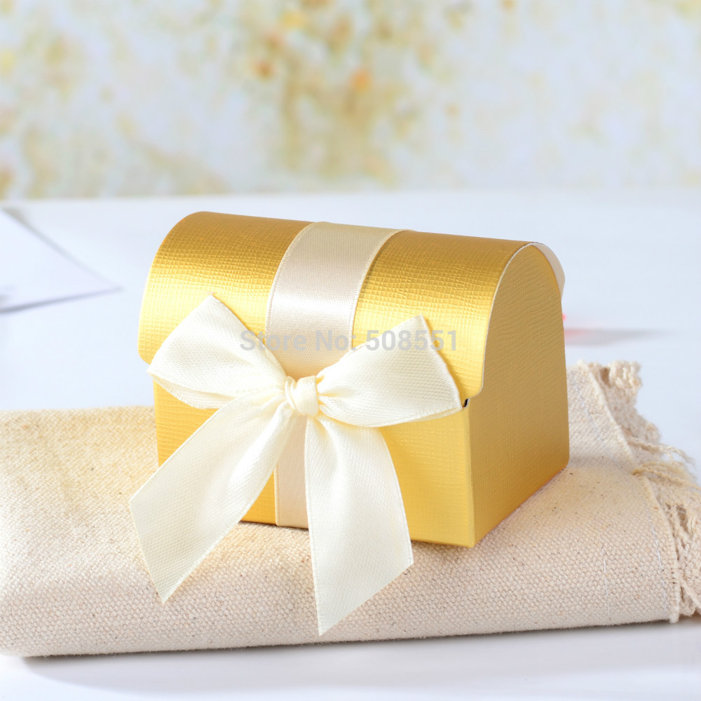 HOT Gold Treasure Chest Favor Candy Gift Boxes With Ribbon For Party ...