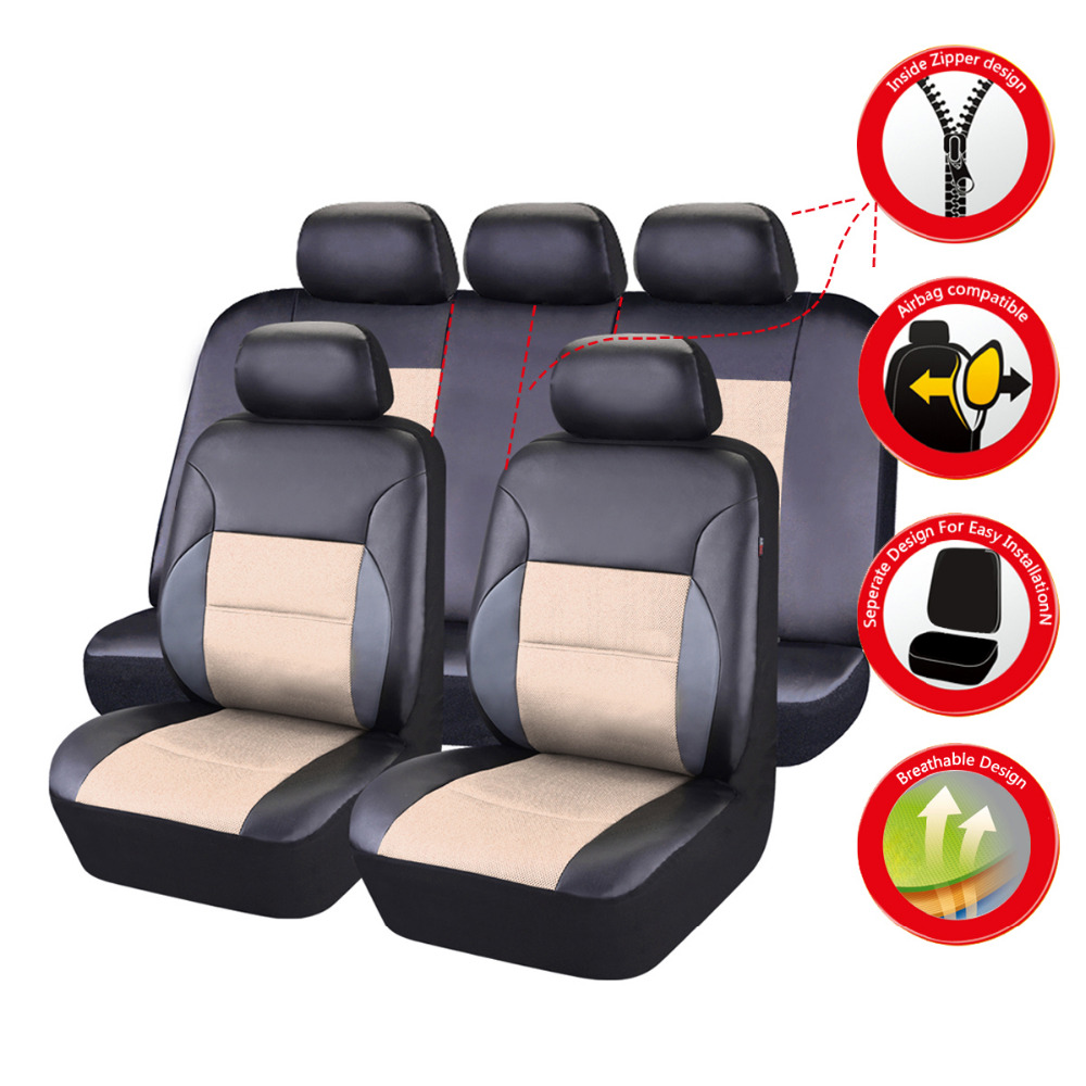 Car Pass Universal Car Seat Cover Leather Full Set Black
