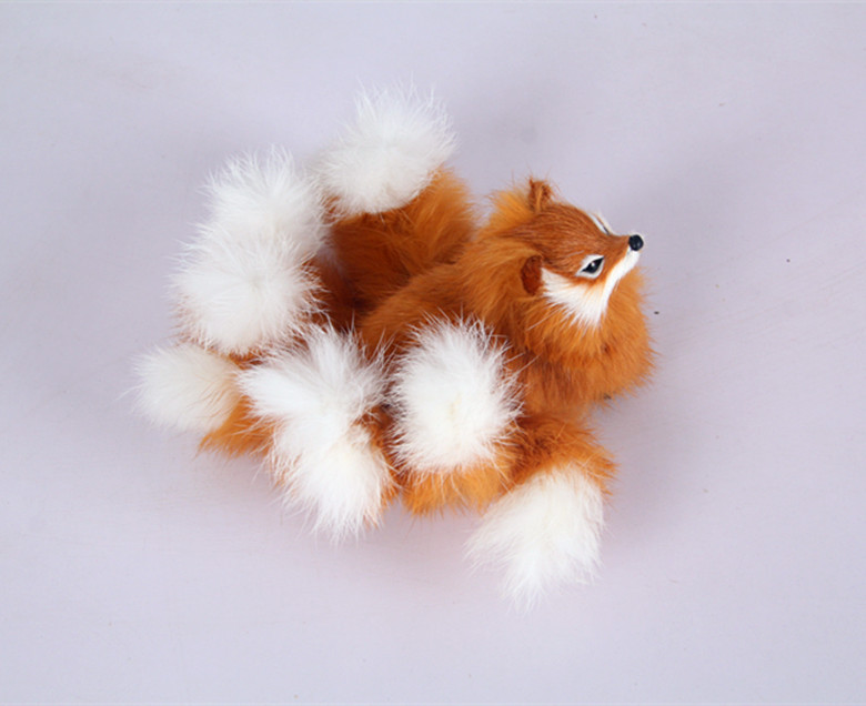 Cute Simulation Nine-tails Fox Toy Resin&fur Yellow Fox Doll Gift About 18x7.5cm 1069
