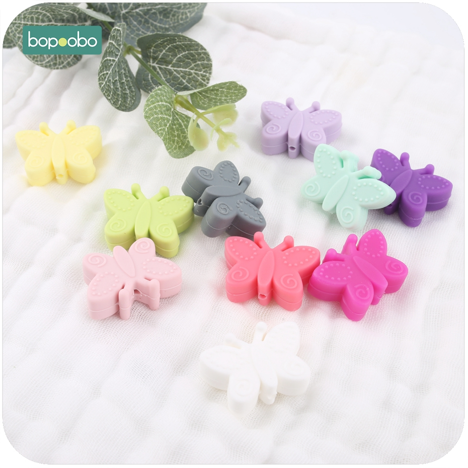 Bopoobo 10pc Mini Silicone Butterfly Beads For Teething Diy Beads Flower Bpa Free Silicone Beads For New Year Gifts Baby Teether