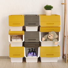 Dropshipping 2018, Home office storage box, plastic covered clothes toy snack flip, finishing box, stackable storage box, L Size