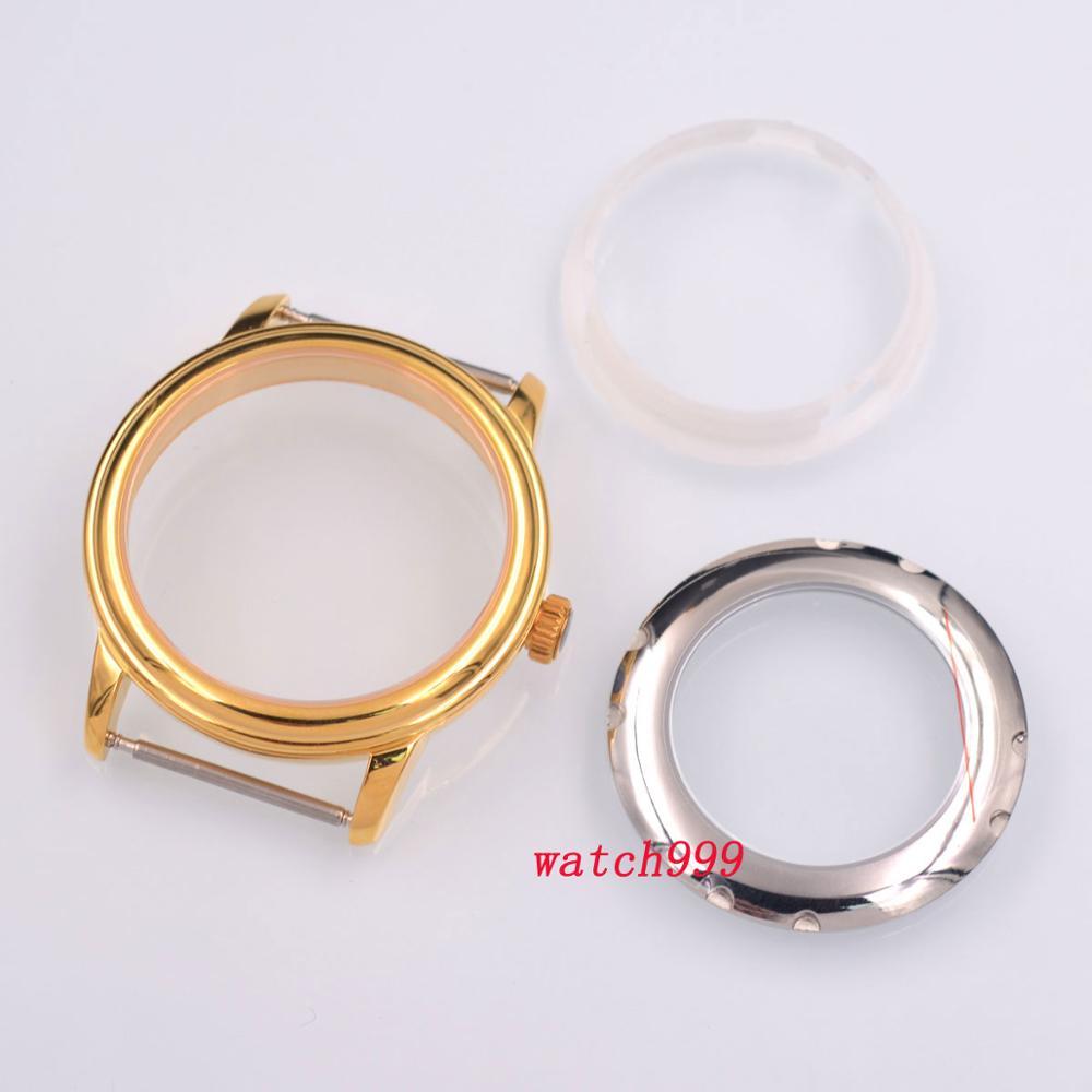 Caixa de Relógio Safira Cristal Ouro Inoxidável Sólido Eta 2824 2836 Miyota 8215 821a Movimento Dg2813 40mm Aço