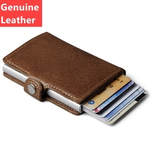 Genuine Leather Mens Aluminum Wallet With Back Pocket ID Card RFID Blocking Mini Magic Wallet Automatic Credit Card Coin Purse(China)