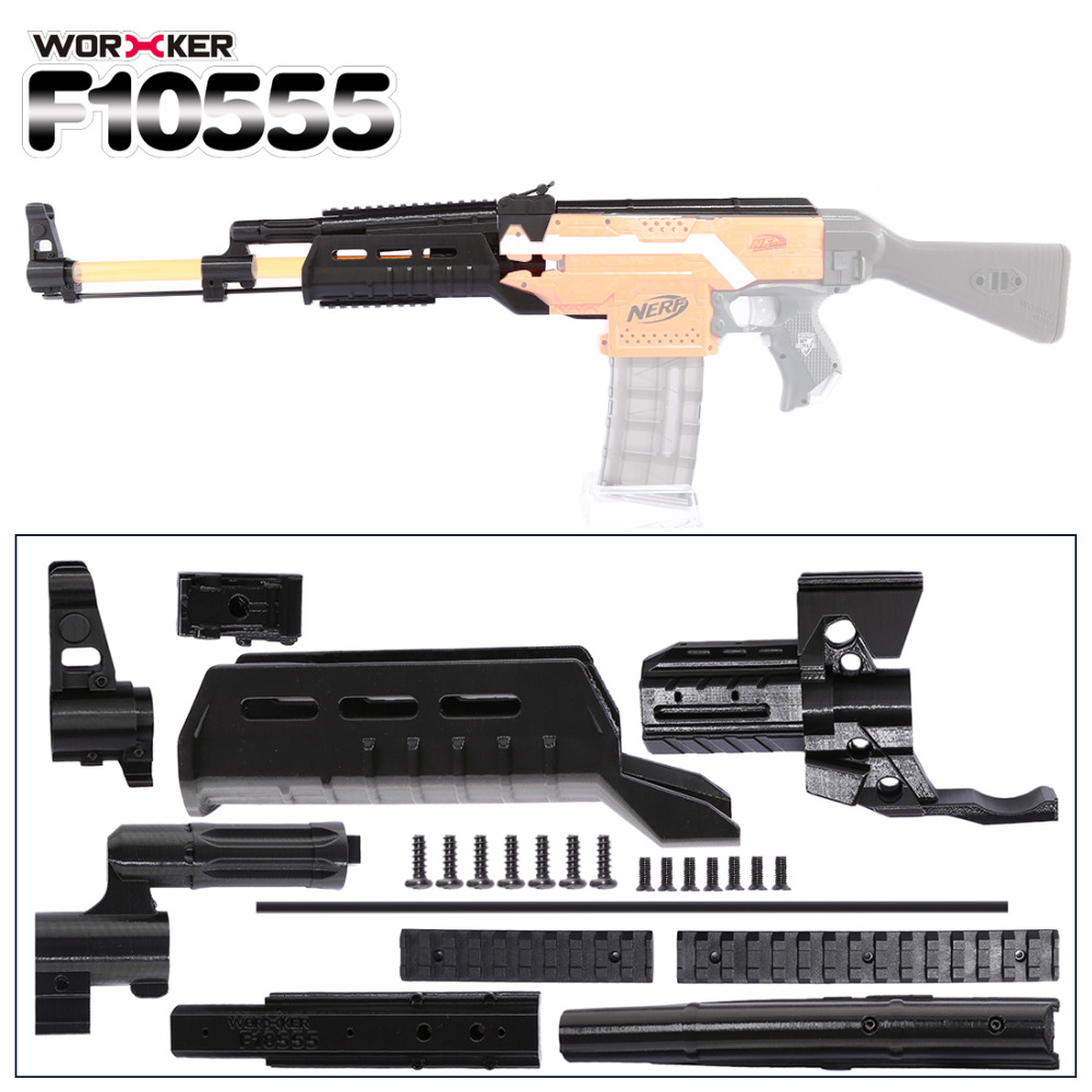 Worker f10555 3D Printing NO.105 Series Long Type Modified Kit Professional Toy Accessories for Nerf Stryfe(Type D) - Black worker f10555 no 152 stf type b set professional toy gun accessories for nerf stryfe black
