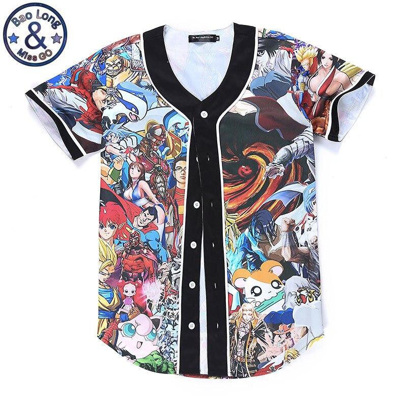 eef74f8702c Anime Character Pokemon 3D Print Men Buttons Homme Baseball Jersey  Streetwear T Shirt Shirt Sleeve Hip