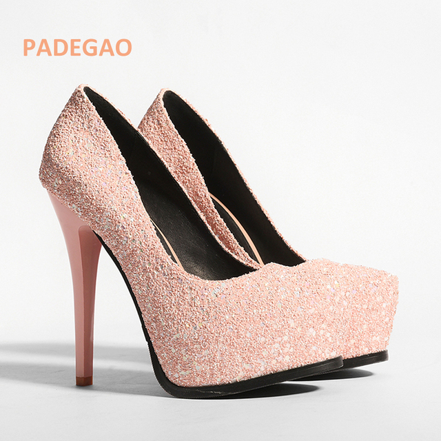 PADEGAO Summer shoe for woman platform Glitter high heels square toe  sequined cloth slip-on pumps Stilettos wedding f9192325ba2f