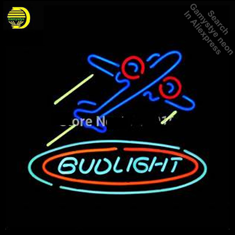 Budlight plane Neon Light Sign GLASS Tube Handcraft Beer bar Pub Wall Light Signs lampara neon personalized Lamp neon light wallBudlight plane Neon Light Sign GLASS Tube Handcraft Beer bar Pub Wall Light Signs lampara neon personalized Lamp neon light wall