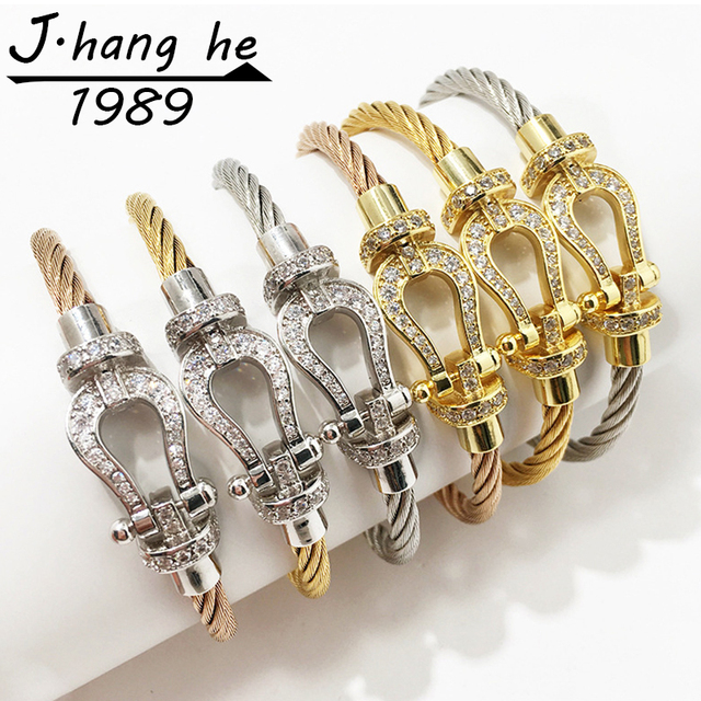 J.K bracelet manchette Male femme love bijoux Crystal Bracelets bangles For Fashion stainless steel Jewelry Men Women bangle