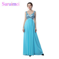 Free Shipping Custom Made Sexy V Neck Prom Dress Long A Line Flowing Chiffon With Beading