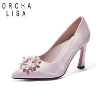 ORCHA LISA New Women Bridal High Heels Pumps Ladies Pointed Toe Red Pearl Silk Silp on shoes Scarpins Talon wedding footwear