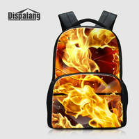 Dispalang 17 Inch Large Capacity Laptop Backpack For College Cool Fire Flame Printing School Bags Bagpack