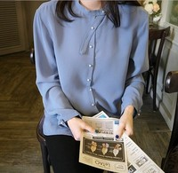 Spring Women Shirts Solid 17 Character Pearl Blouse Shirt Blue 2021