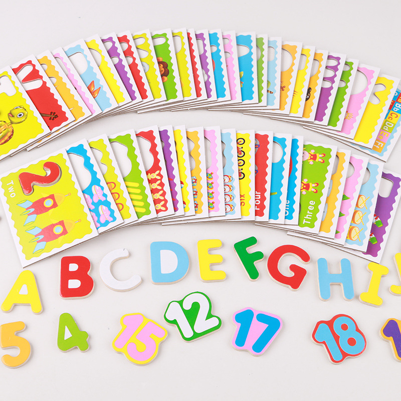 Cysincos 1set Kids Educational Toys Wooden Childrens Puzzle Toys Creative Learning Alphabet Toys Montessori New Year Gifts Activity & Gear Mother & Kids