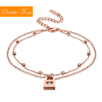 Love Heart Lock Anklet Rose Gold Color Titanium Stainless Steel Material Anklets Fashion Trendy Women Jewelry Gift Dropshipping