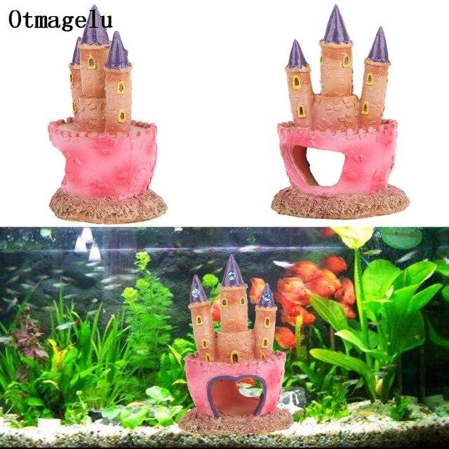 pink resin diamond castle aquariums decorations castle tower for fish hide ornaments fish tank aquarium accessories
