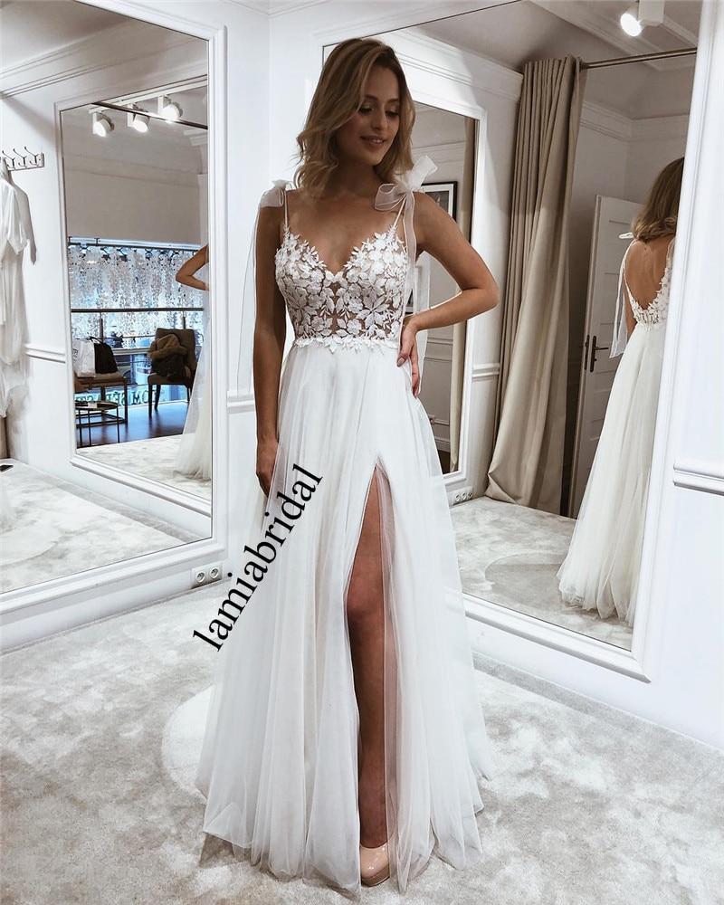 Modest Plus Size Boho Beach Wedding Dresses 2019 A Line Backless Cheap Bohemia Country Greek Long Tulle Vestido De Novia