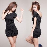 Atacado 2015 Verão Novas Mulheres Coreano Pacote Magro Hip Oblíqua Ombro Mini Vestidos Sexy e Elegante Vestido Nightclub Clubwear