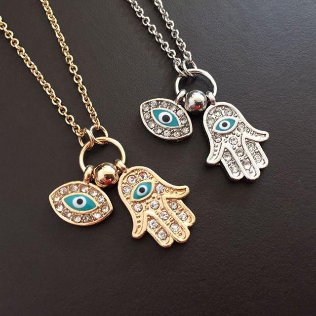 1 PC Fashion Emas/Perak Biru Mata Jahat Hamsa Tangan Fatima Palm Kalung untuk Wanita Pria Kuantitas Tinggi Perhiasan