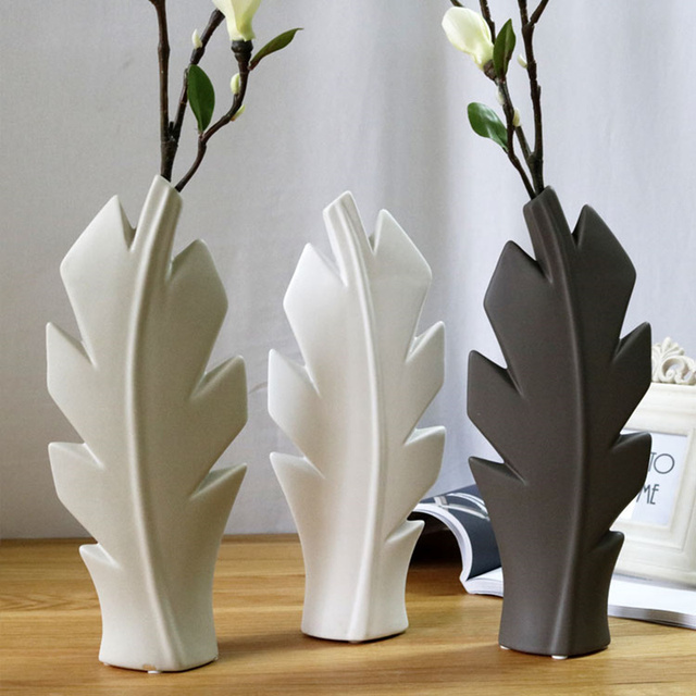 Vase Ceramic Wedding Decoration Room Living Room Leaf Flower Vase