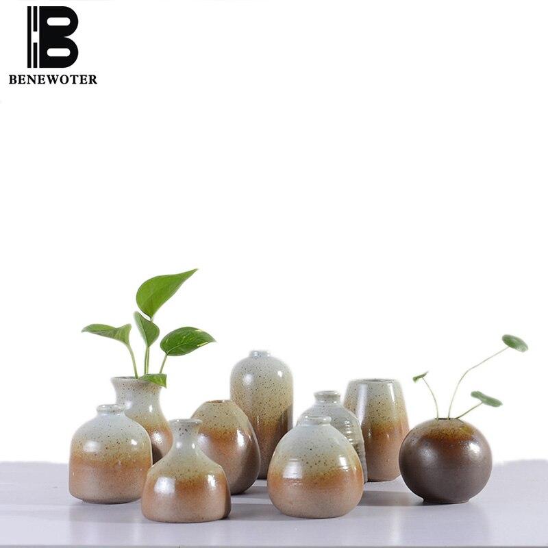 Японском стиле Керамика цветок Вазы кабинет дома вина Украшения Office для настольных мини Гидропоника искусственный цветок Майки