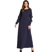 185793 Middle East Muslim Knitted Beaded Frothy Dress Gown Womens Clothing Musulman Vestidos Female