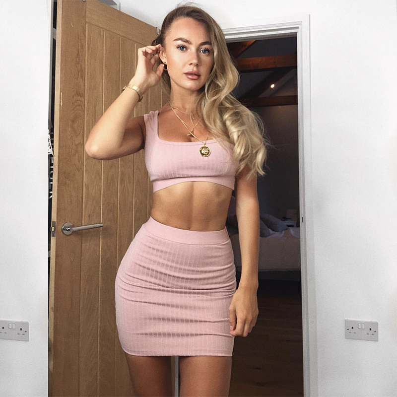 NewAsia Pink Ribbed Sexy Two Piece Set Matching Sets 2 Piece Set Women Crop Top And Skirt Set Winter Two Piece Outfits Clothes
