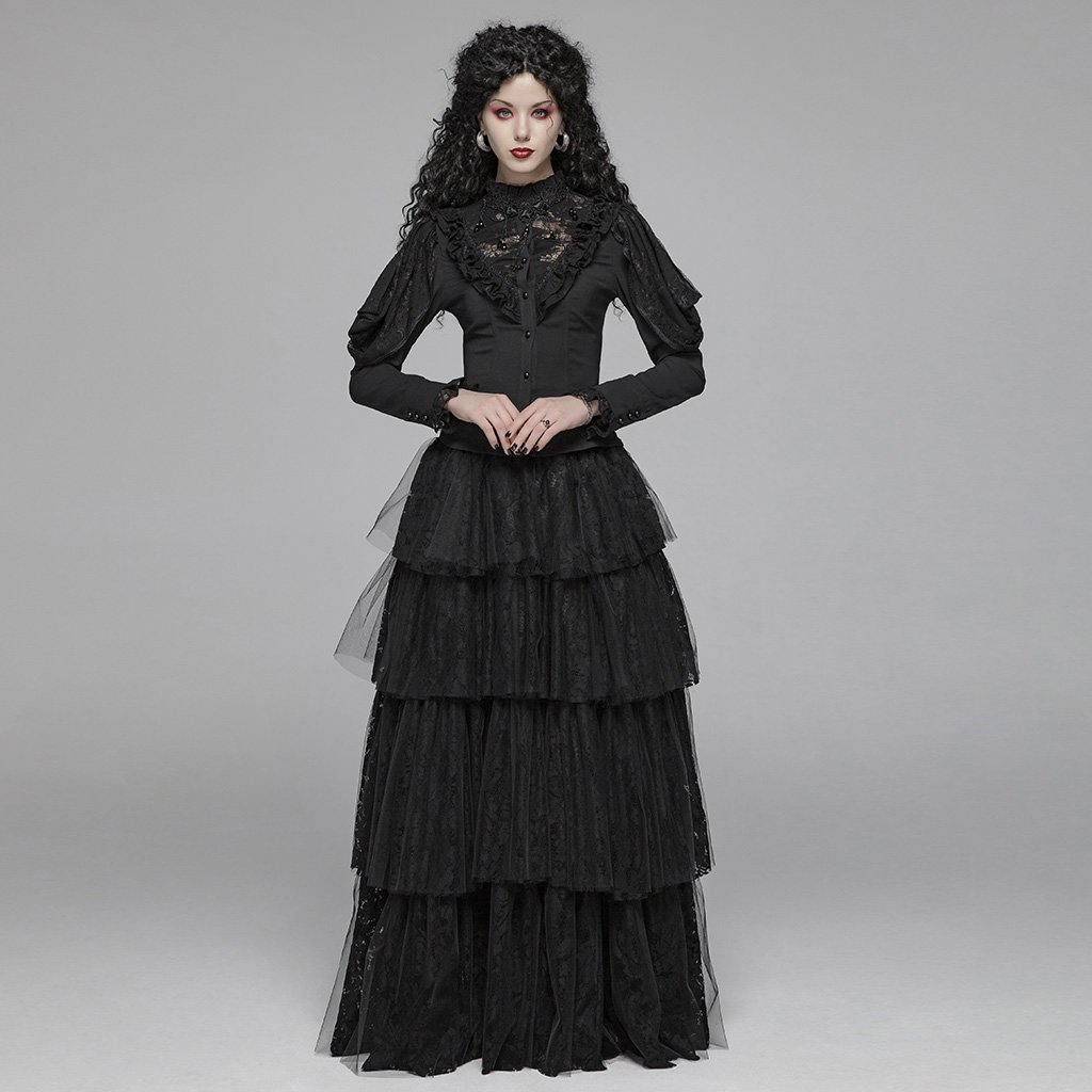 EQ нежный цельный кружевной полупрозрачный женский длинный рукав с воланом блузка женская кружевная рубашка весна осень - 4