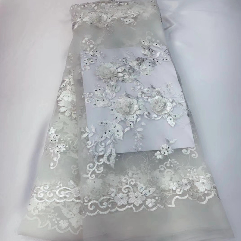 New fashion French Lace Fabric White Nigerian Lace Fabrics High Quality African Lace Fabric With Beads and Stones TZ266