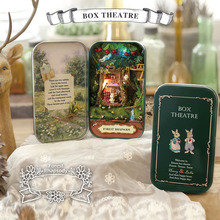 Forest rhapsody Box theatre DIY Mini Doll house 3D Miniature Colored Lights+Metal box+Dolls+Wooden support+Furnitures Decoration