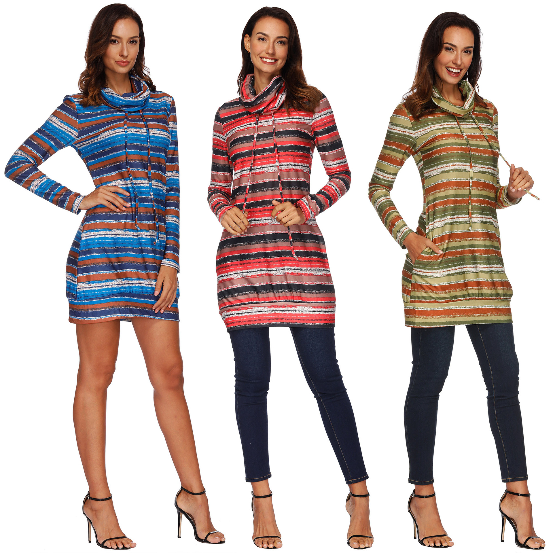 long sleeve women sweatshirts streetwear 2019 fashion basic hoodies slim striped turtleneck pullover female sweatshirt harajuku in Hoodies amp Sweatshirts from Women 39 s Clothing