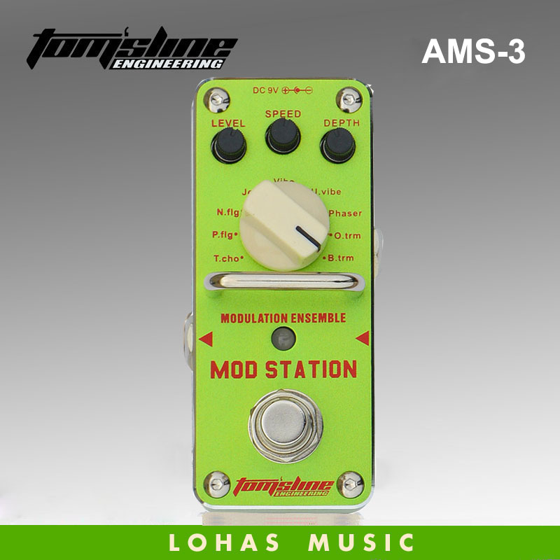 все цены на New AROMA AMS-3 MOD STATION 11 classic modulation effects Guitarra Effect Pedal chorus flanger phaser .True Bypass free shipping