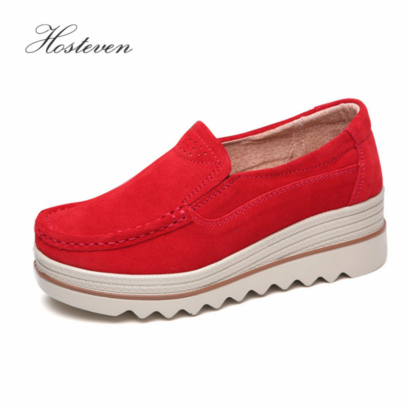 Hosteven Women Shoes Flat Platform Sneaker Moccasins Loafers Cow   Suede     Leather   Spring Autumn Female Students Ladies Shoes