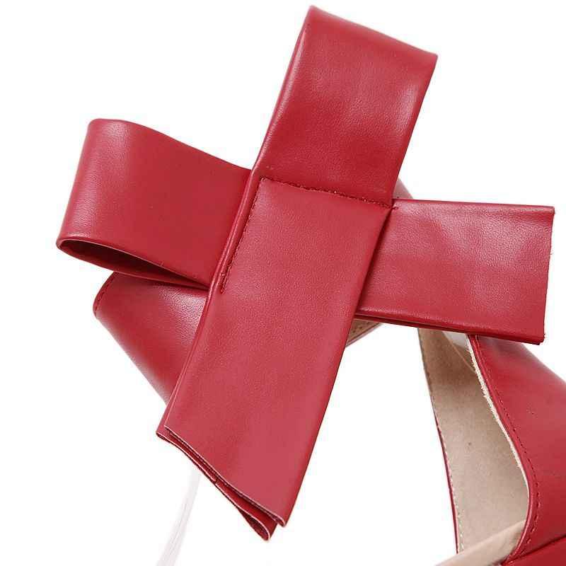 2019 Phụ Nữ Giày Xăng Đan Mùa Hè Lớn Nơ Gót Thấp Peep Hở Mũi Giày Người Phụ Nữ Đỏ Cưới Cô Dâu Đầm Dự Tiệc với Đế 43