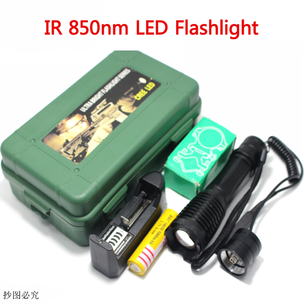 Zoom In Zoomable <font><b>LED</b></font> Tactical Flashlight CREE <font><b>850nm</b></font> IR <font><b>LED</b></font> Flashlight Night Vision Infrared Radiation Focus Gun Lamp Light Torc