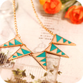 OMH wholesale On0401 fashion accessories vintage caiyou black and white zebra print triangle necklace
