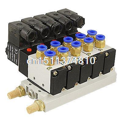 DC 12V 5/16 Quick Fitting 2 Position 5 Solenoid Valve w Base Muffler dc 12v single head 2 position 5 way 5 pneumatic solenoid valve w base aywvu