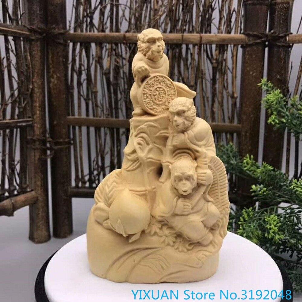 Sculpture sur buis Boutique, sculpture sur singe, sculpture sur buis de printemps, artisanat en bois de Wukong animalSculpture sur buis Boutique, sculpture sur singe, sculpture sur buis de printemps, artisanat en bois de Wukong animal
