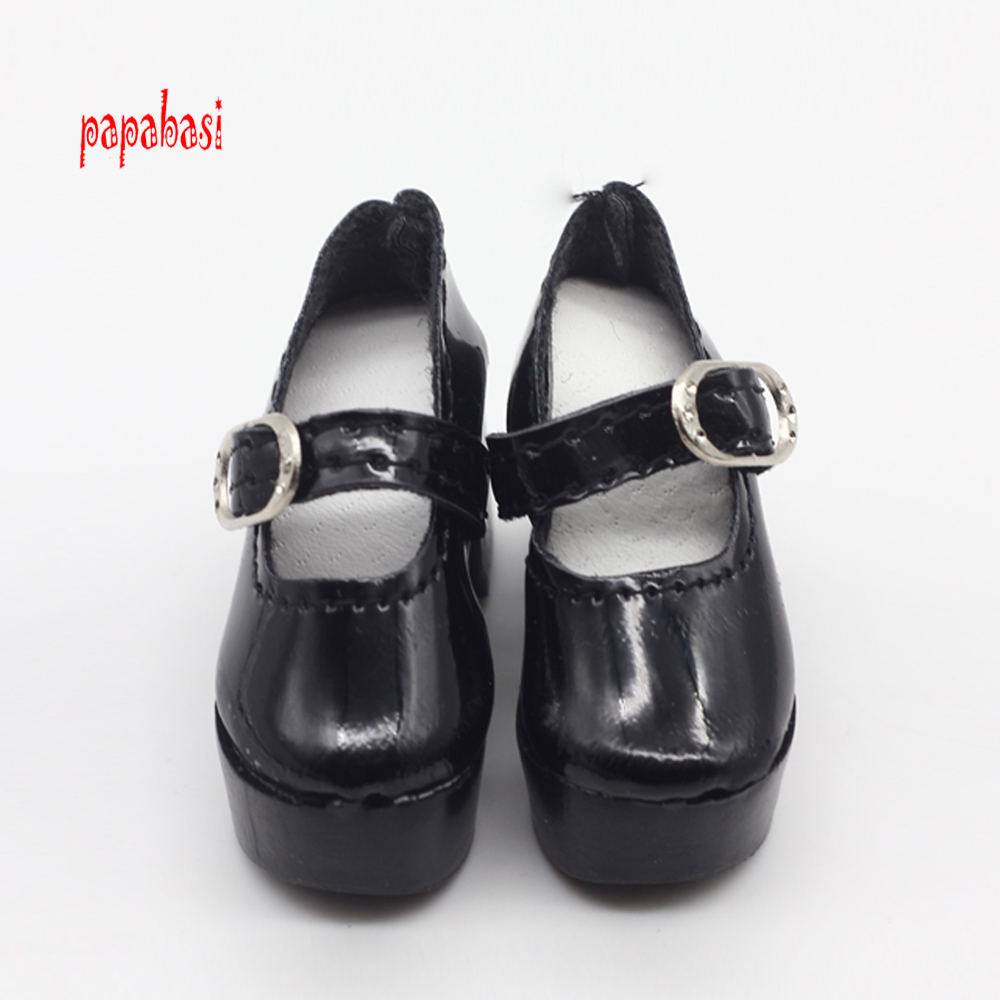 Papabasi 1pair Black PU Leather 1/4 Doll Shoes for 50cm BJD SD Dolls Accessory 6.3cm uncle 1 3 1 4 1 6 doll accessories for bjd sd bjd eyelashes for doll 1 pair tx 03