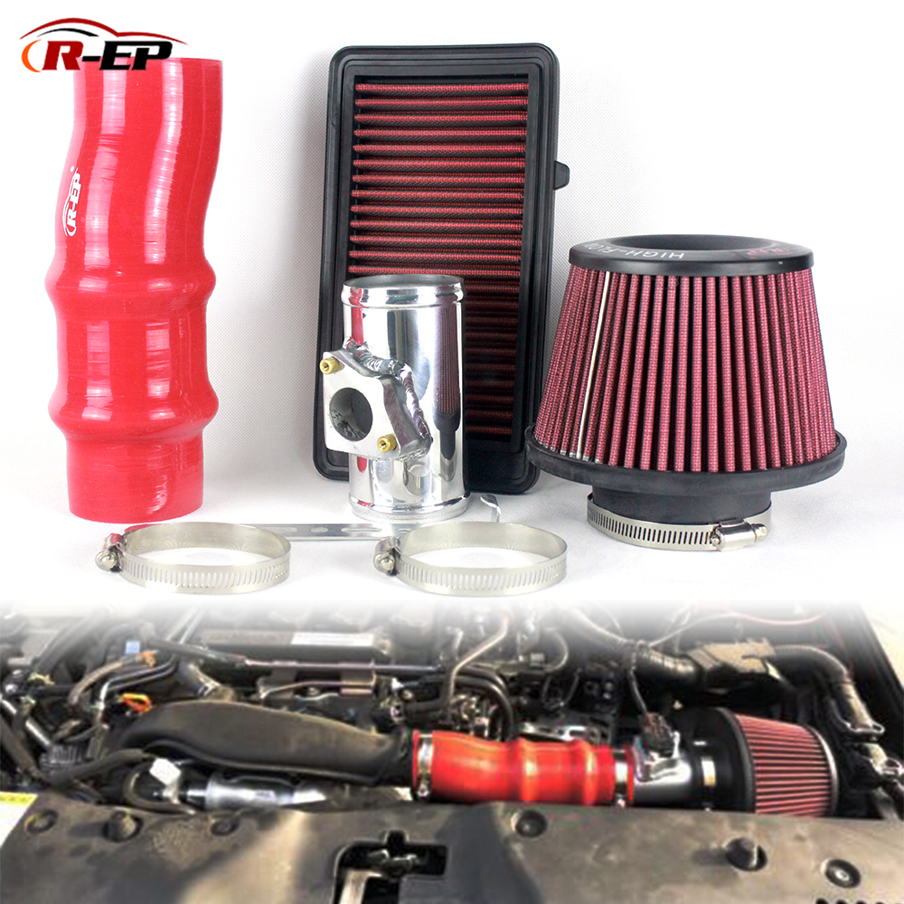 R EP Professional Racing Air Intake Kit for Honda Civic 1.5 Turbo High Flow Replacement Panel Air Filter with Aluminum Pipe