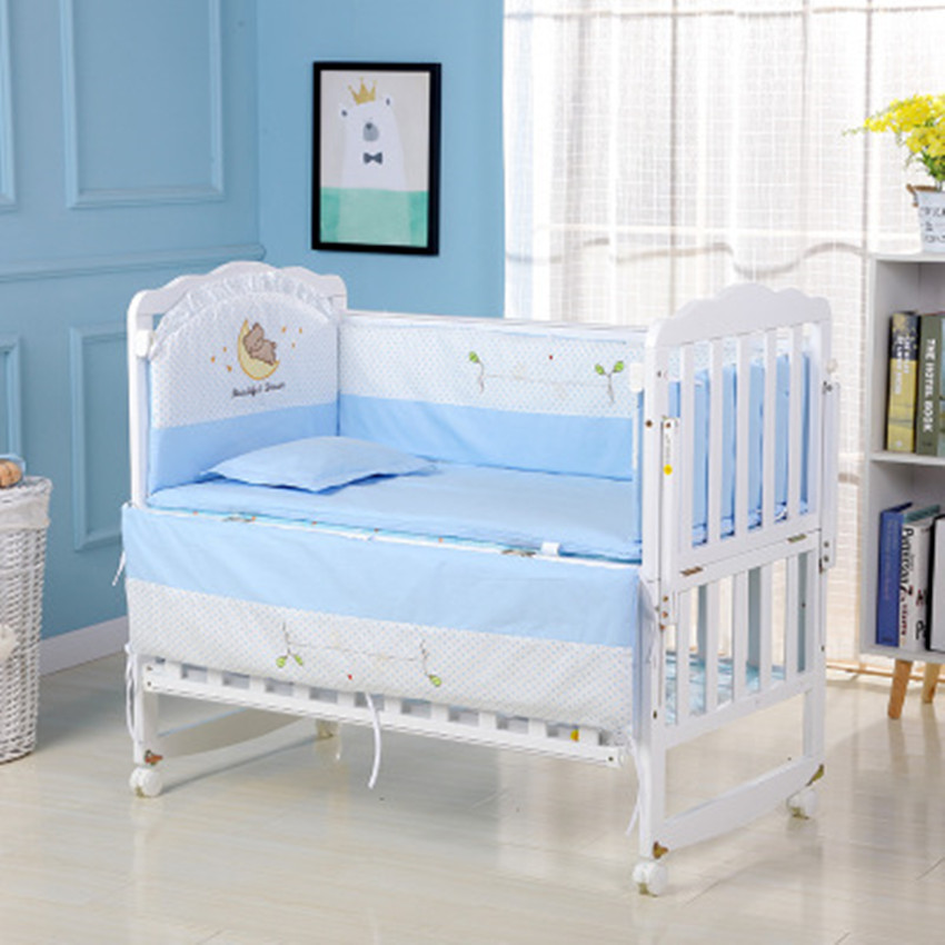 5Pcs Cotton 3D Breathable Print Baby Crib Cot Bumper Collision Protector Newborn Bed Surrounded By Safety Rails Bedding Supplies5Pcs Cotton 3D Breathable Print Baby Crib Cot Bumper Collision Protector Newborn Bed Surrounded By Safety Rails Bedding Supplies