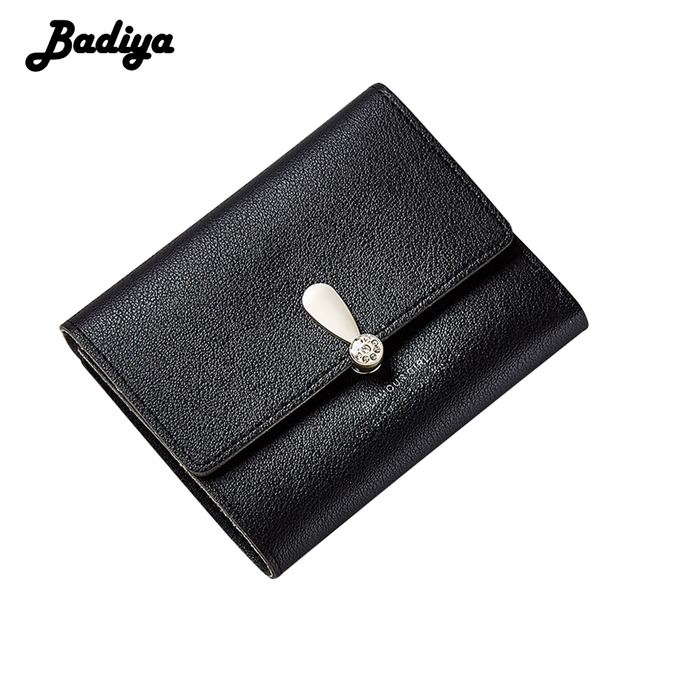 Badiya Trifld Hasp Wallet For Women Solid PU Leather Ladies Short Purse Card Holder Candy Color Mini Money Bags casual weaving design card holder handbag hasp wallet for women