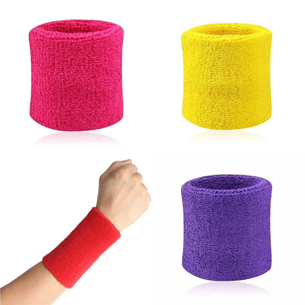 2 шт. натирает пот Баскетбол хлопчатобумажные Браслеты наручные полосы потные полосы браслет насыщенные цвета